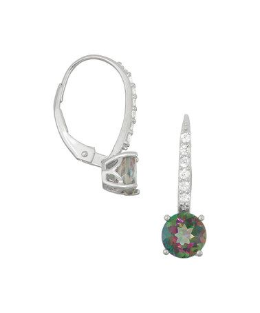 Another great find on #zulily! Green Rainbow Topaz & White Sapphire Huggie Earrings #zulilyfinds