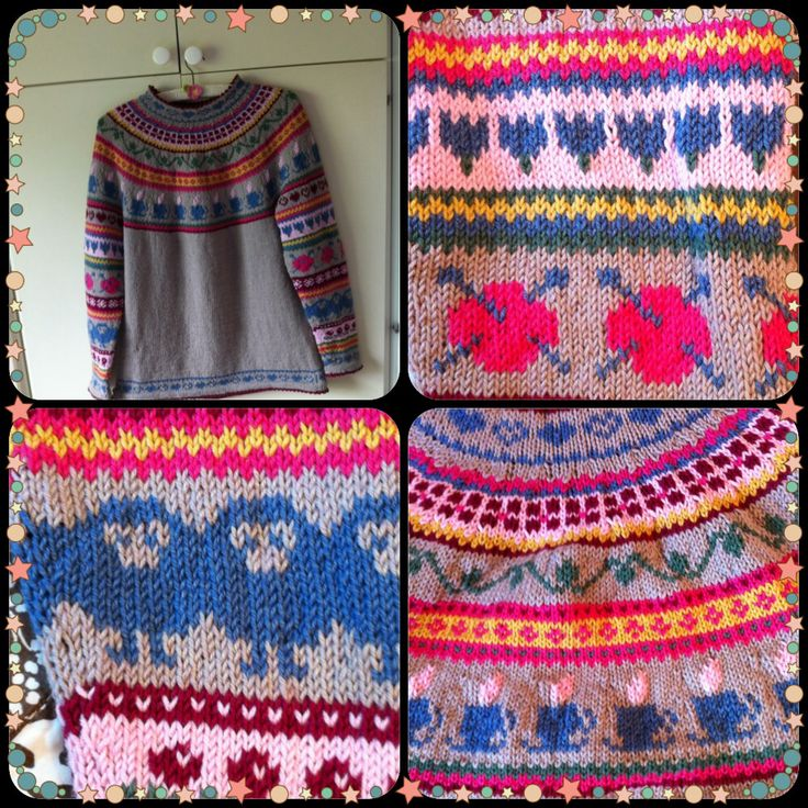 Hønsestrikk / sweater with lots of patterns !
