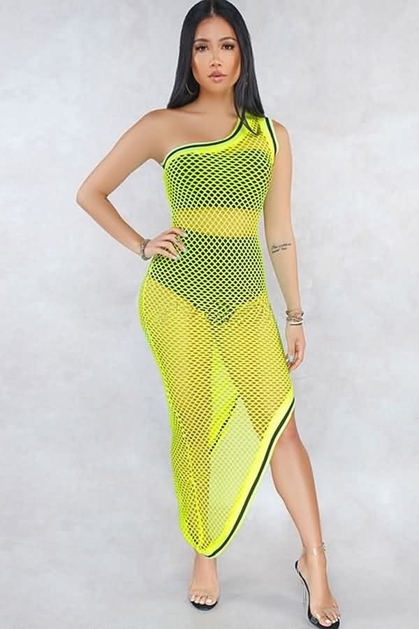 ded6725fde Neon Green Hollow Out See Through One Shoulder Sexy Beach Dress #059954 @ Cover  Up