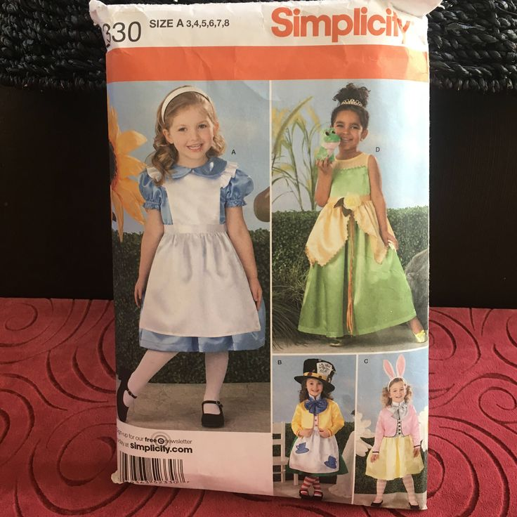 Princess Costume Pattern, Little Girl Costume, Halloween Costume, Alice In Wonderland, Frog Princess, Party Dress, Simplicity 2330, Size 3-8 by GiftGarbBags on Etsy