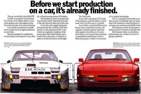 Porsche 944 Trubo ad showing a 944 GTP