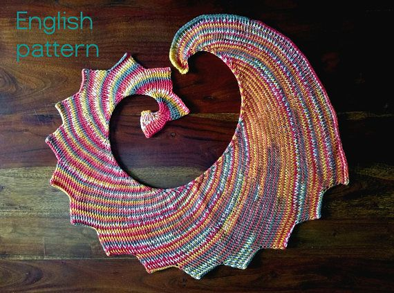 Crochet PATTERN Tunisian shawl scarf cotton wirl wingspan
