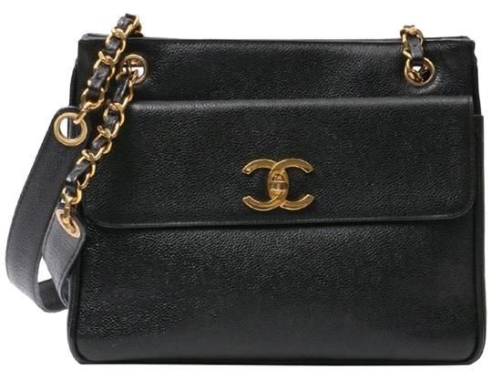 4ec3b4db8d94ed We guarantee this is an authentic CHANEL Vintage Caviar CC Stitching Logo  Shopping Tote Black or 100% of your money back. The bag features polished  gold ...