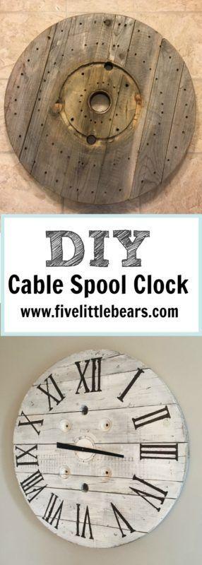 DIY cable spool farmhouse clock #diy #farmhouse #crafts #homedecor #projects #reuse #blogger