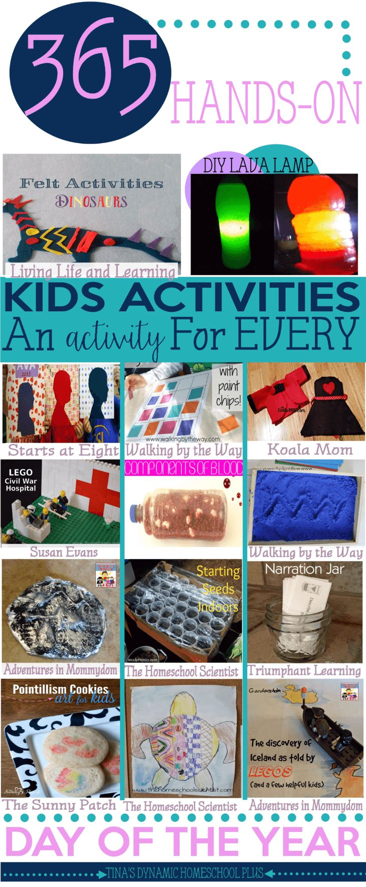 365 Days Hands-On Homeschool Kids Activities! One for EVERY day of the year. Hands on learning sticks because it not only teaches skills, but it is fun.Language arts, history, geography and crafts, you are sure to find one in this HUGE LIST!! Check it out over at Tina's Dynamic Homeschool Plus.