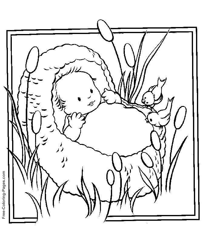 bible coloring pages 24 moses in the bullrushes