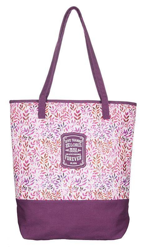 Give Thanks, Purple Tote Bag