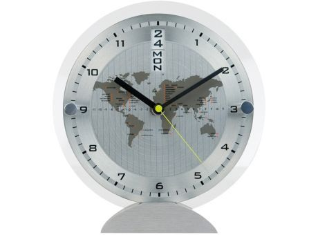 Tischuhr mit Datumsanzeige und Wochentag - Weltkarte | Werbeartikel und Werbemittel zum Bedrucken mit Logo |