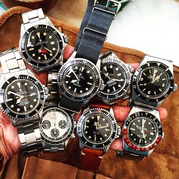 Important Vintage ROLEX reference by @kkevalll : From left to right  DRSD MK one Patent Pending  Oman 1665  Oyster Screw PN Panda 6263  MilSub 5517  Square Crown Guard 5512  Comex 1665  Bakelite 6542 GMT  King Sub 6200 by mr.chrono