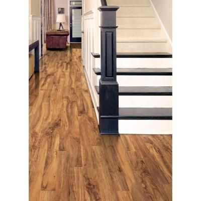 Hampton bay high gloss natural palm 8 mm thick x 5 in wide x 47 3 4 in length laminate - Hampton bay flooring home depot ...