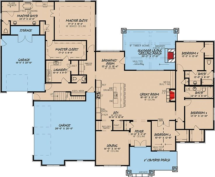 Plan 70528MK: 4 Bed Southern Home Plan With Rustic Elegance