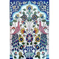 Mosaic 'Antique Looking Art Peacock' 6-tile Ceramic Wall Mural