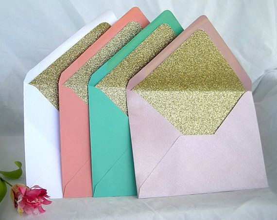 Beautiful Premium Matte Envelope Lined with Gold or Silver Glitter  Gorgeous to go with your vintage or Modern Wedding Invitations  Most Color Envelopes available  Beautiful Classy Presentation to present your Invitations or Announcements Perfect for Weddings, Showers, Baby or Birthday Cards, Graduations or any Occasion  A7 Envelope size (5.25 x 7.25) other sizes available  Fits a 5 x 7 Card or Invitation Perfectly  Custom Amount Available  These are stunning Modern Sparkly Glitter lined…