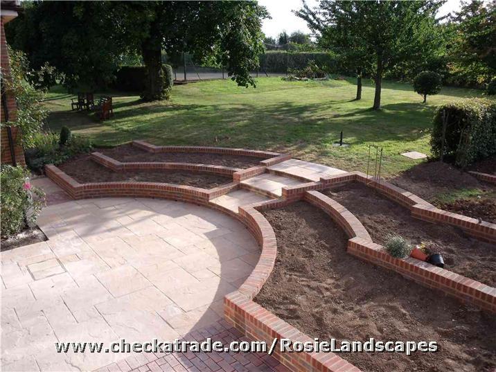 Patio and brick retaining beds
