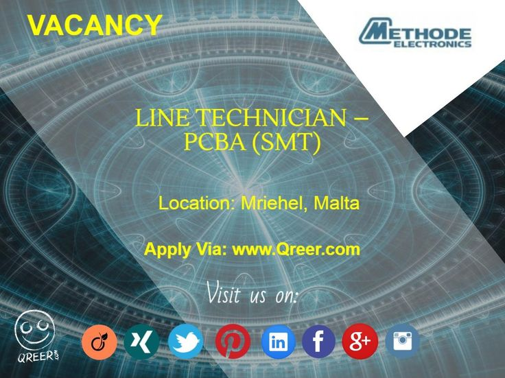Our client METHODE ELECTRONICS MALTA is looking for a Line Technician PCBA (SMT) in Mriehel, Malta. The position requires a Bachelor in Mechanical engineering, or Mechatronics engineering or equivalent combination of education with experience from which comparable knowledge and abilities can be acquired. If you find this job interesting, please click the link to view the job and apply via Qreer: http://www.qreer.com/jobs/view/8053/ #methode, #electronics, #malta, #technician, #PCBA…
