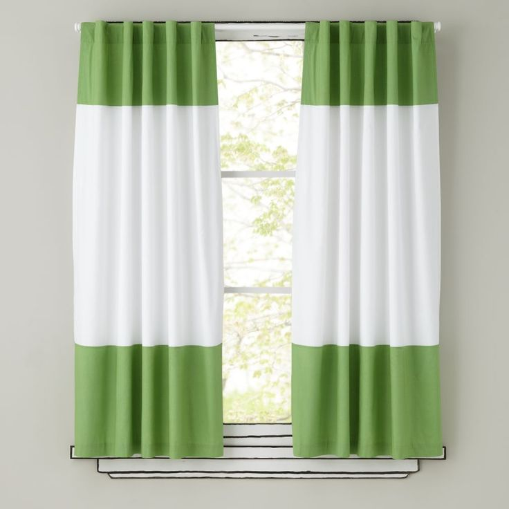 Amazing Kids Curtains: Green And White Curtain Panels