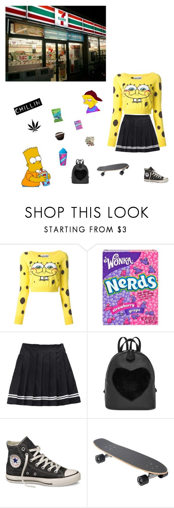 """I love 7 eleven 😍"" by mochichimchim ❤ liked on Polyvore featuring Moschino, River Island and Converse"