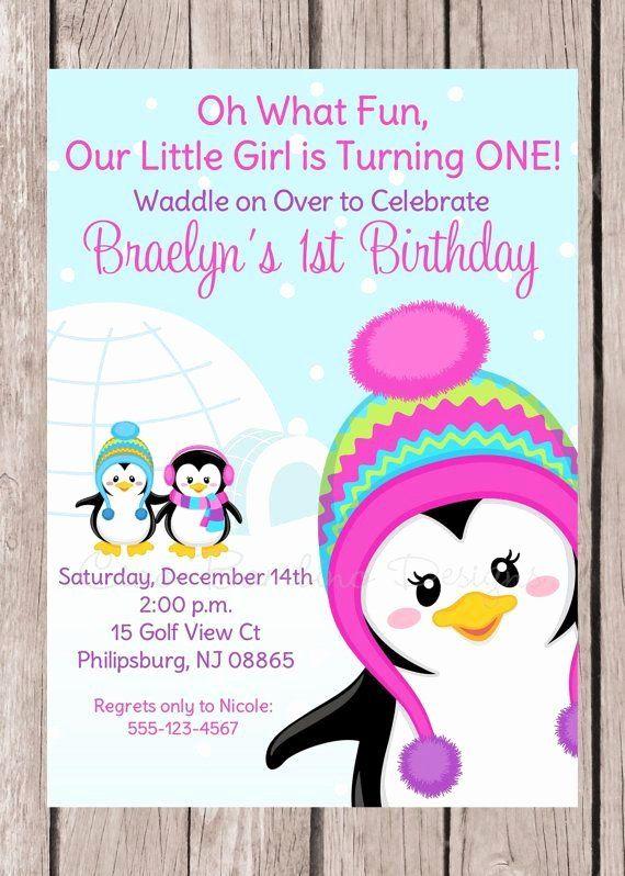 30 Winter Themed Birthday Invitation In 2020 Penguin Birthday Party Penguin Birthday Birthday Party Invitations Printable