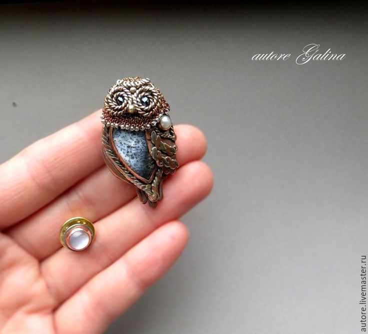 An owl and a moon. Brooches (autore Galina)