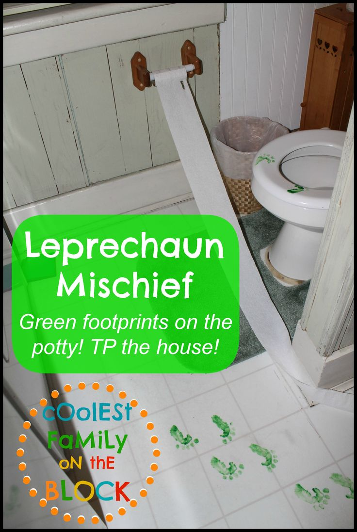 Leprechaun footprints on the toilet, mischief, trickery, and pranks for St. Patricks Day!