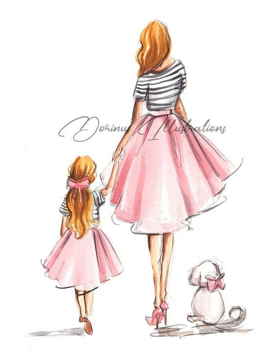 Mother Daughter Art Mothers Day Wall Art Mothers Day Art Fashion Illustration Fashion Wall Art Mother Daughter Nursery Wall Art Mother Daughter Art Mother And Daughter Drawing Mothers Day Drawings