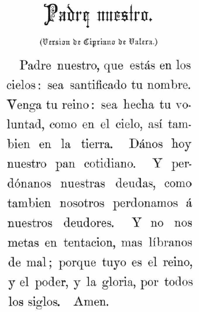 lord's prayer in spanish