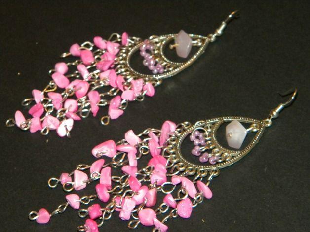 Orecchini chandelier - Orecchini indiani rosa - un prodotto unico di 3lektra su DaWanda