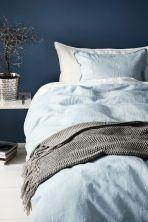 Set copripiumino lino lavato - Azzurro - HOME | H&M IT 1