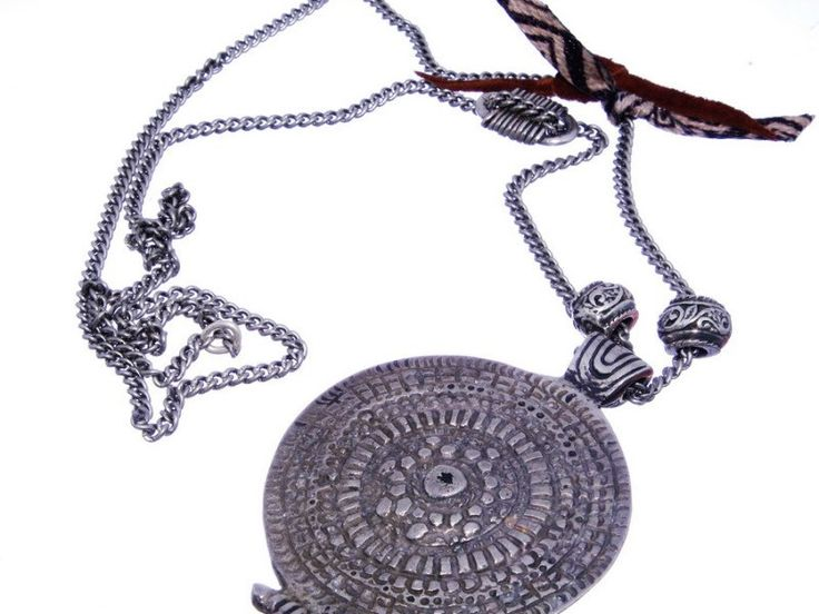Boho necklace with 925 Silver and tissue - Ethnic and boho chic style - Original and unique necklace - Hand made in Spain - European Quality by CuchiCuchiSHOP on Etsy