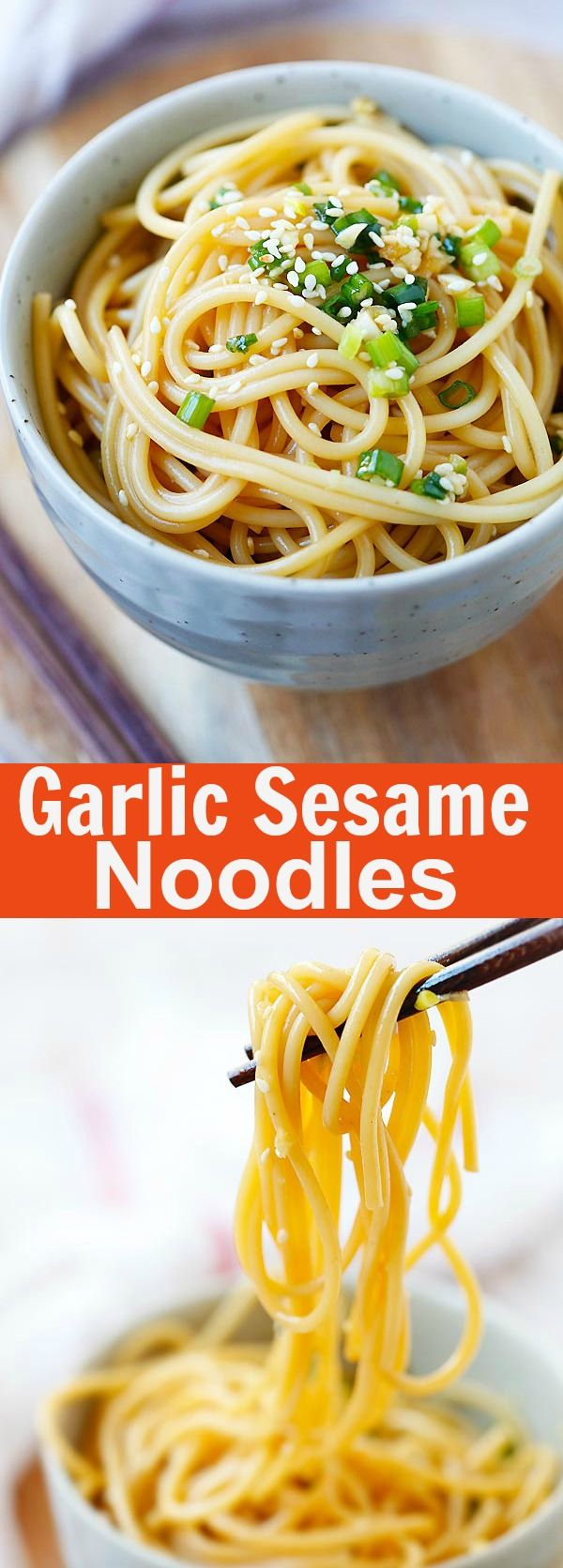 Garlic Sesame Noodles – Asian-flavored spaghetti with soy sauce, oyster sauce, garlic and sesame. Easy and delicious recipe that takes 15 mins to make   rasamalaysia.com