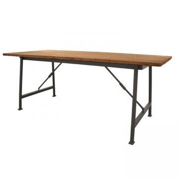 Эффектный стол на складных металлических ножках. столешница из античного тика             Метки: Деревянные столы, Кухонный стол, Обеденный стол из массива.              Материал: Металл, Дерево.              Бренд: NAF-NAF House.              Стили: Лофт.              Цвета: Коричневый, Черный.