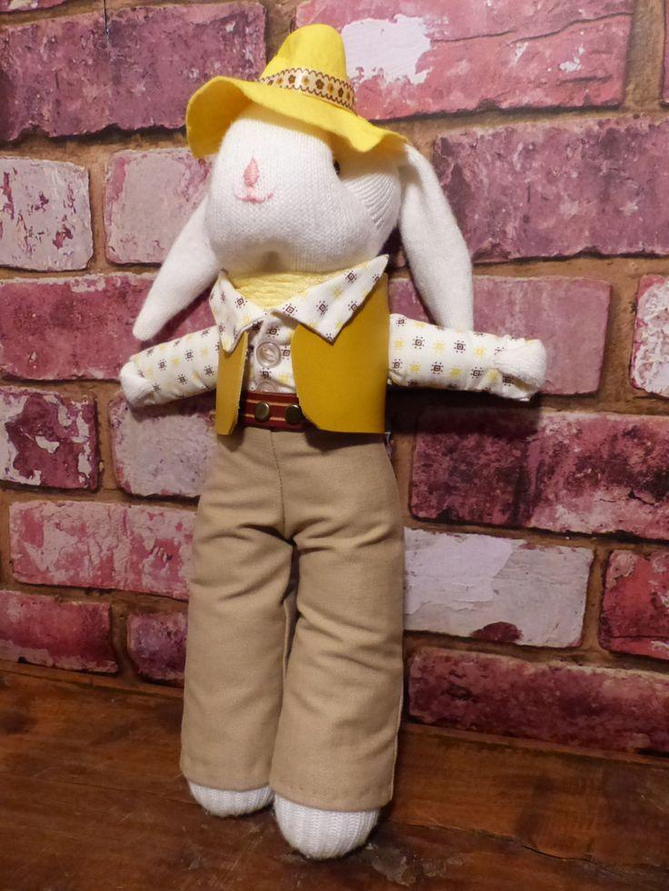 DRESSED HANDMADE BUNNY - Dressed Sock Bunny by JusFunkinAround on Etsy