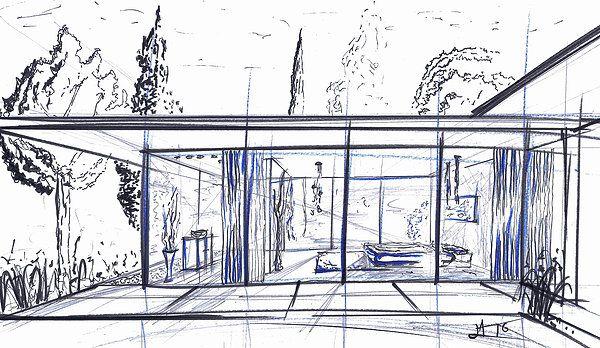 Dessin Perspective - Croquis Alexandre Trubert A.T.ELIER 16 design  www.atrubert.com