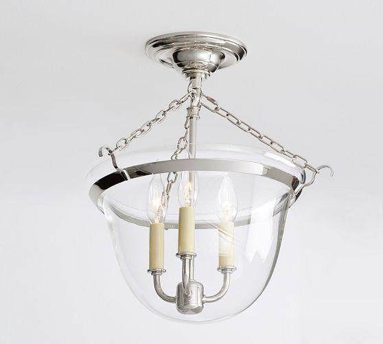Hundi 3-light Semi-Flushmount Lantern, Bronze Finish