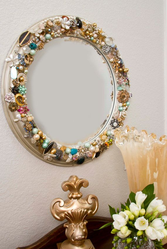 TO COOL!!  Glam Mirror with vintage costume jewelry encrusted by AltusDesigns, $225.00: Round Mirror, Gifts Handmade, Vintagejewelry Mirror, Vintage Costume, Vintage Jewelry, Vintage Style