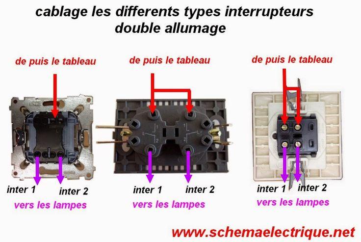 brnachement cablage interruptur doble allumage bricol pinterest lectricit et electrique. Black Bedroom Furniture Sets. Home Design Ideas