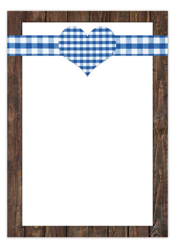 25 Blatt blau weiß kariertes Briefpapier; Motivpapier mit Herz im Bayern Look mit Holz Umrandung - DIN A4 100g;