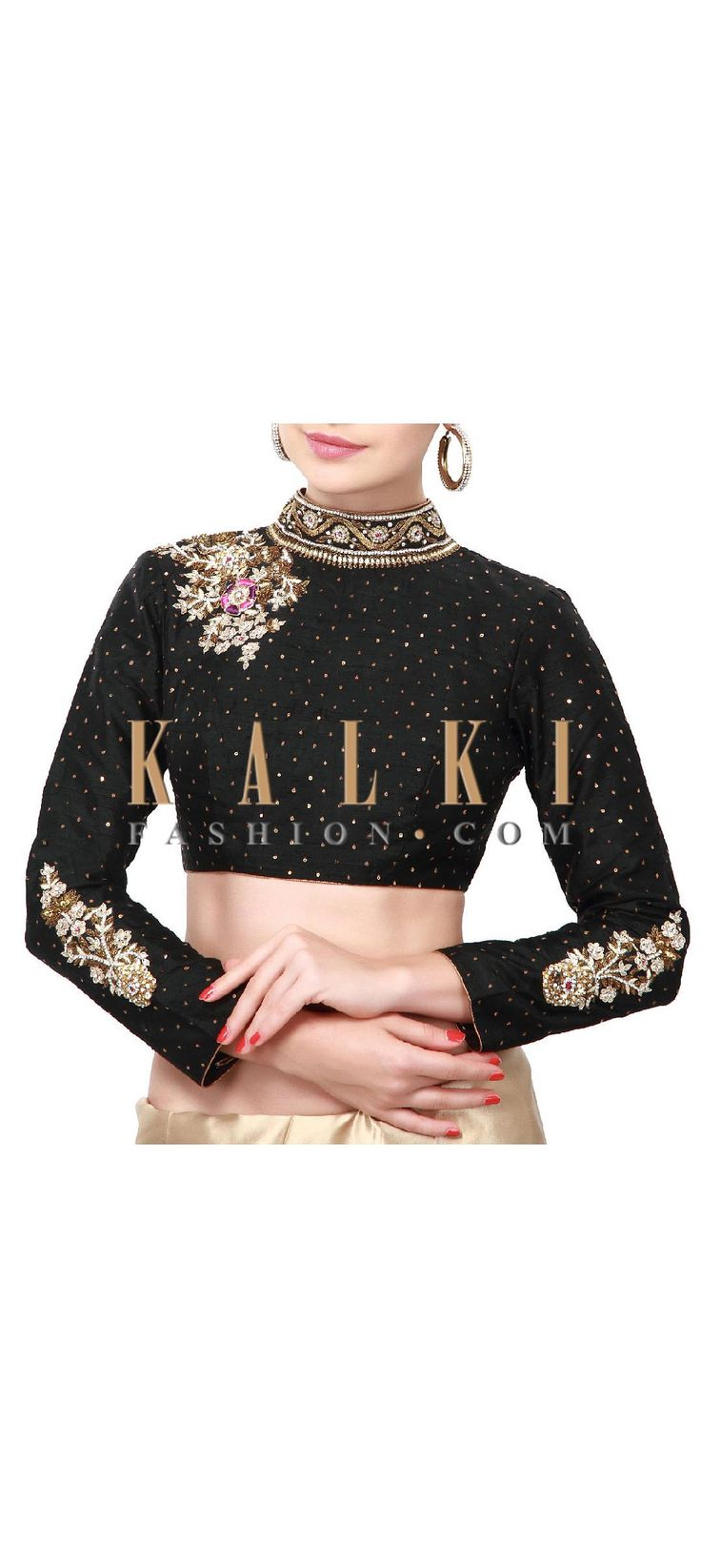 Buy Online from the link below. We ship worldwide (Free Shipping over US$100). Product SKU - 318040. Product Price - $129.00. Product Link - http://www.kalkifashion.com/black-blouse-adorn-in-kundan-embroidered-butti-only-on-kalki.html