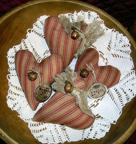 Primitive Folk Art Valentines  Heart Ornies Full Of Love Ornies-Bowl Fillers-Set Of 4 on Etsy, $8.99