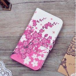 Lenovo A Plus vaaleanpunaiset kukat puhelinlompakko.