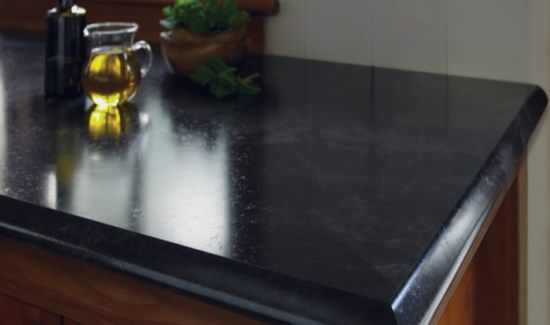 formica 180fx high end laminate in jet sequoia which is black with gray veins. Budget friendly kitchen update idea