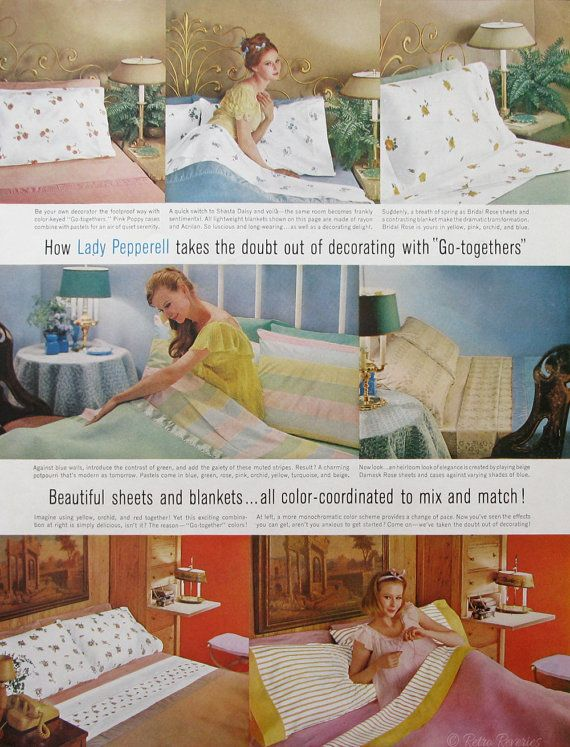 1961 Lady Pepperell Patterned Sheets Ad from #RetroReveries