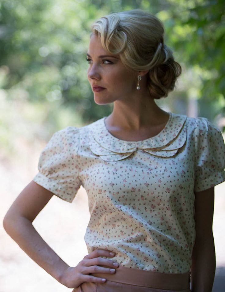 Cute blouse, but really love the hair! Double Collar Modest Top in Floral Cream Print