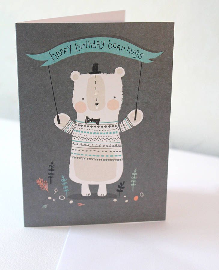 A cute birthday card printed with little bear in jumper design. $4.25