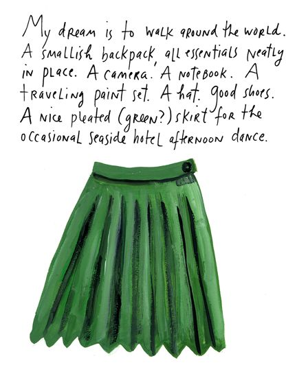 @Tamara Walker O'Nan this reminds me of you. it may be the pleated dress. or small backpack with essentials neatly in place. or traveling paint set. yes, all of it :)