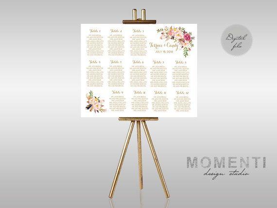 Tableau mariage con fiori acquerello, Tableau de mariage dorato stampabile floreale,Grafico posti a sedere floreale, The Mia collection