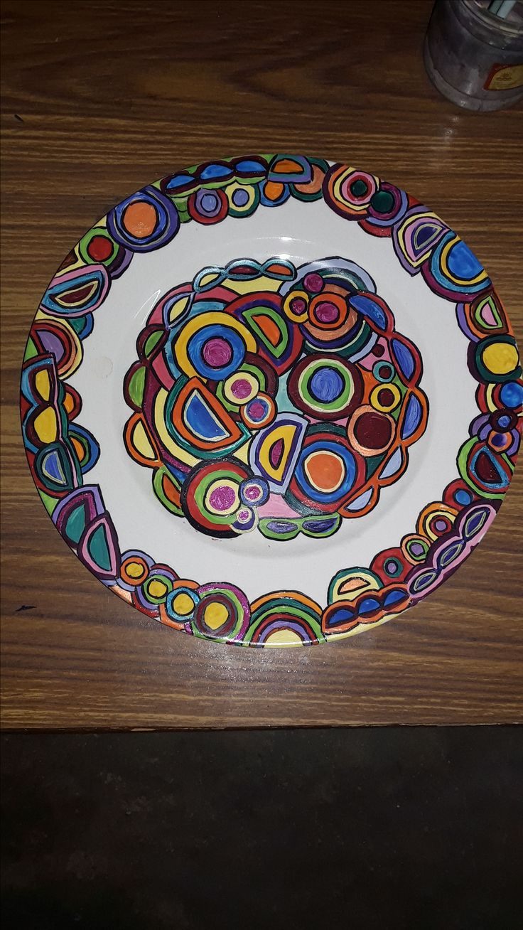 Acrylic painting on old ceramic dinner plate