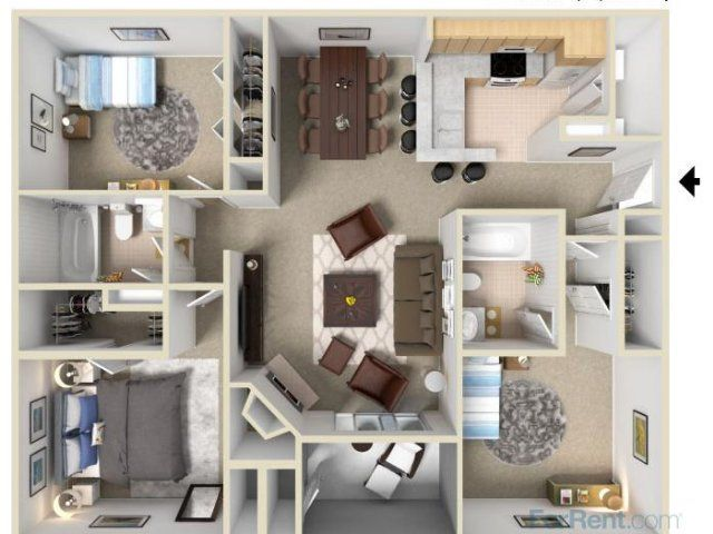 A three bed floor plan at Pavilions Apartments in Manchester CT 860-248-7023