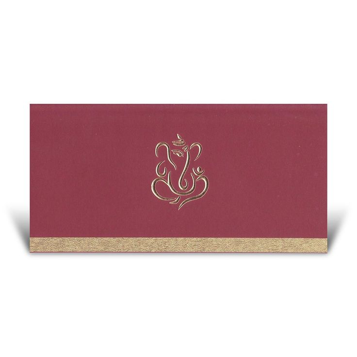A simple yet elegant Hindu #Wedding #Card.  This card features a #Ganesh in the centre and a rustic effect Gold strip across the bottom.  Price from £1.69, including the designing and printing of the inserts.