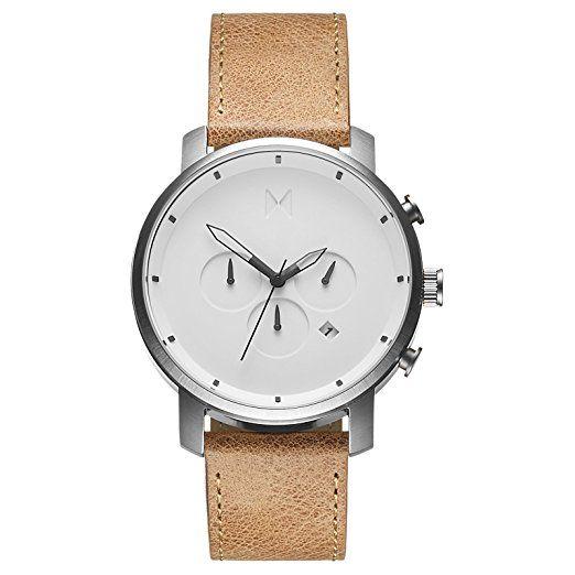 Reloj cronógrafo de hombre reloj MVMT Blanco/ Pulsera de piel colour marrón MCC01WT